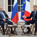 FILE PHOTO: French President Emmanuel Macron meets with Russia's President Vladimir Putin, at his summer retreat of the Bregancon fortress on the Mediterranean coast, near the village of Bormes-les-Mimosas, southern France, on August 19, 2019. Gerard Julien/Pool via REUTERS/File Photo