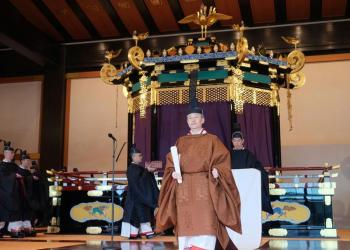 Japan's Emperor Naruhito leaves a ceremony to proclaim his enthronement to the world, called Sokuirei-Seiden-no-gi, at the Imperial Palace in Tokyo, Japan, October 22, 2019 in this photo released by Cabinet Office of Japan. Cabinet Office of Japan/Handout via Reuters