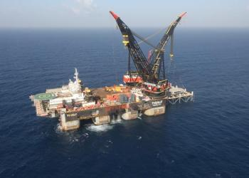 FILE PHOTO: An aerial view shows the newly arrived foundation platform of Leviathan natural gas field, in the Mediterranean Sea, off the coast of Haifa, Israel January 31, 2019. Marc Israel Sellem/Pool/File Photo
