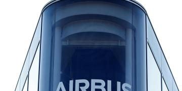 FILE PHOTO: The Airbus logo is pictured at Airbus headquarters in Blagnac near Toulouse, France, March 20, 2019. REUTERS/Regis Duvignau/File Photo