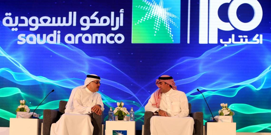 FILE PHOTO: Amin H. Nasser, president and CEO of Aramco, and Yasser al-Rumayyan, Saudi Aramco's chairman, attend a news conference at the Plaza Conference Center in Dhahran, Saudi Arabia November 3, 2019. REUTERS/Hamad I Mohammed