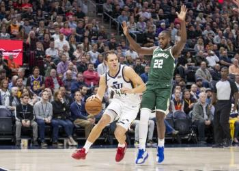 Nov 8, 2019; Salt Lake City, UT, USA; Utah Jazz forward Bojan Bogdanovic (44) dribbles the ball while defended by Milwaukee Bucks forward Khris Middleton (22) during the first quart at Vivint Smart Home Arena. Mandatory Credit: Rob Gray-USA TODAY Sports