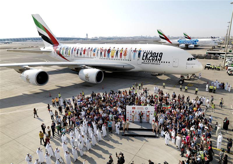 The airline attempted to welcome as many nationalities as possible onto flight EK2019, for a special flight journey across all seven emirates.