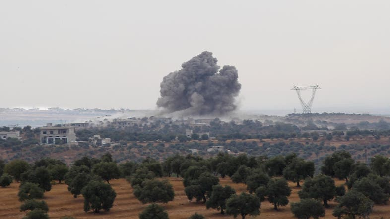On Sunday morning, clouds of smoke rose over the Maaret al-Numan region as warplanes pounded extremists. (File photo: AP)