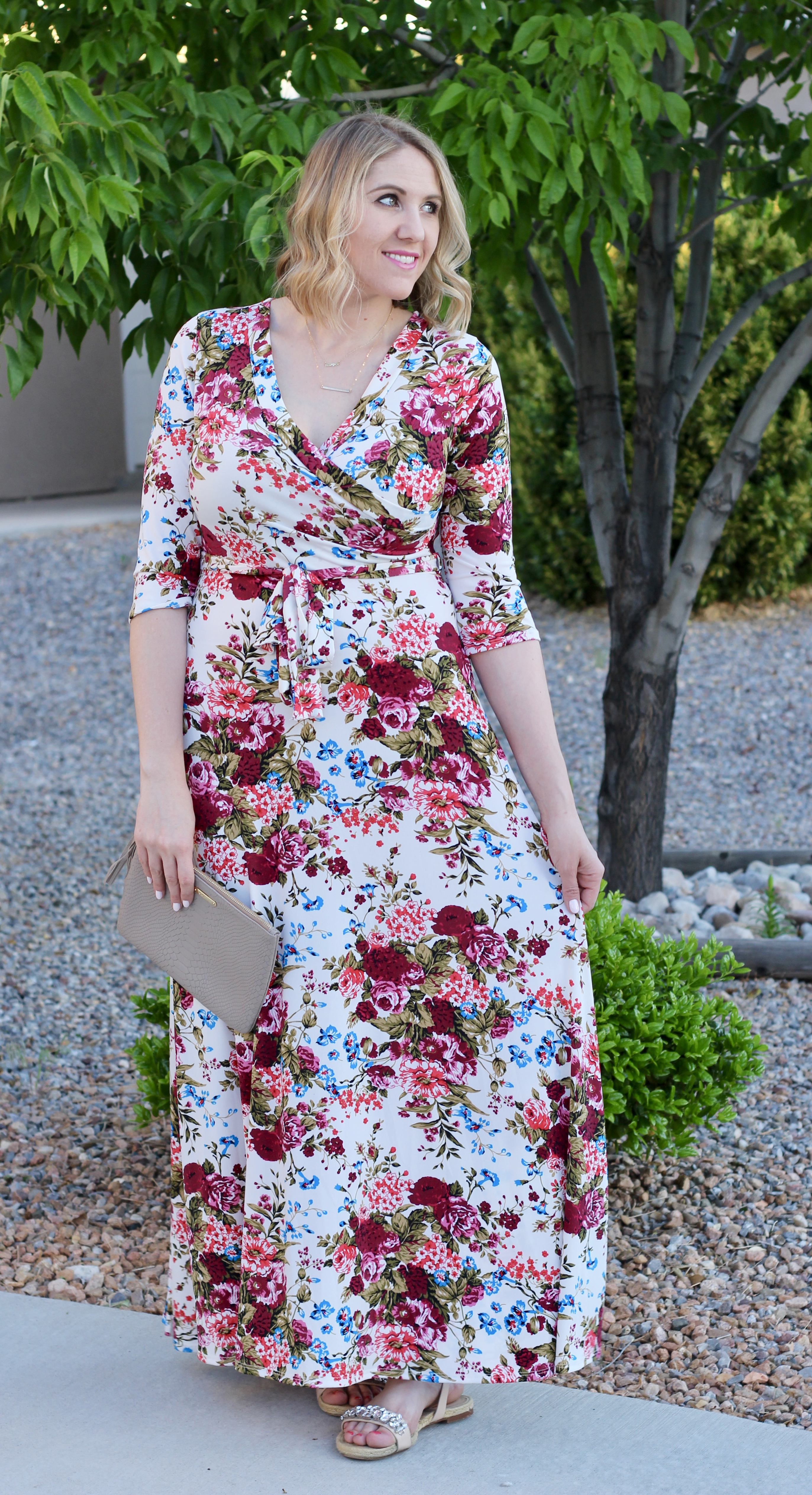 cute floral maxi dress, nursing friendly maxi dress