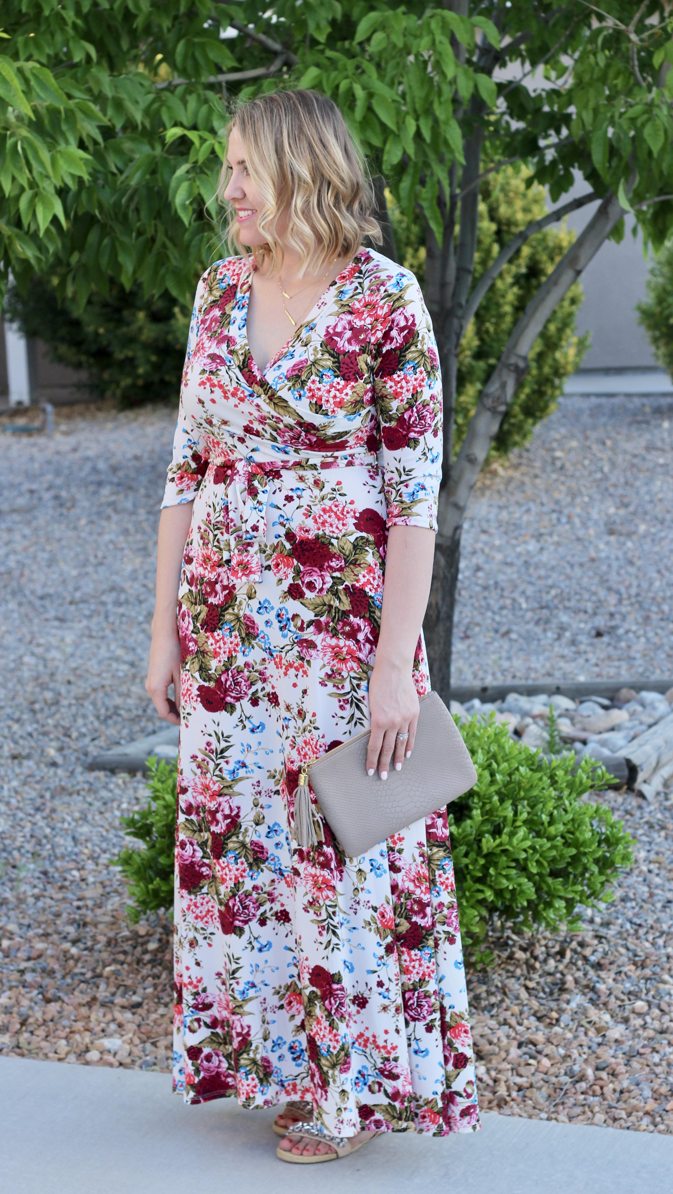 floral wrap maxi dress pink blush #pinkblush #wrapdress #floralmaxidress