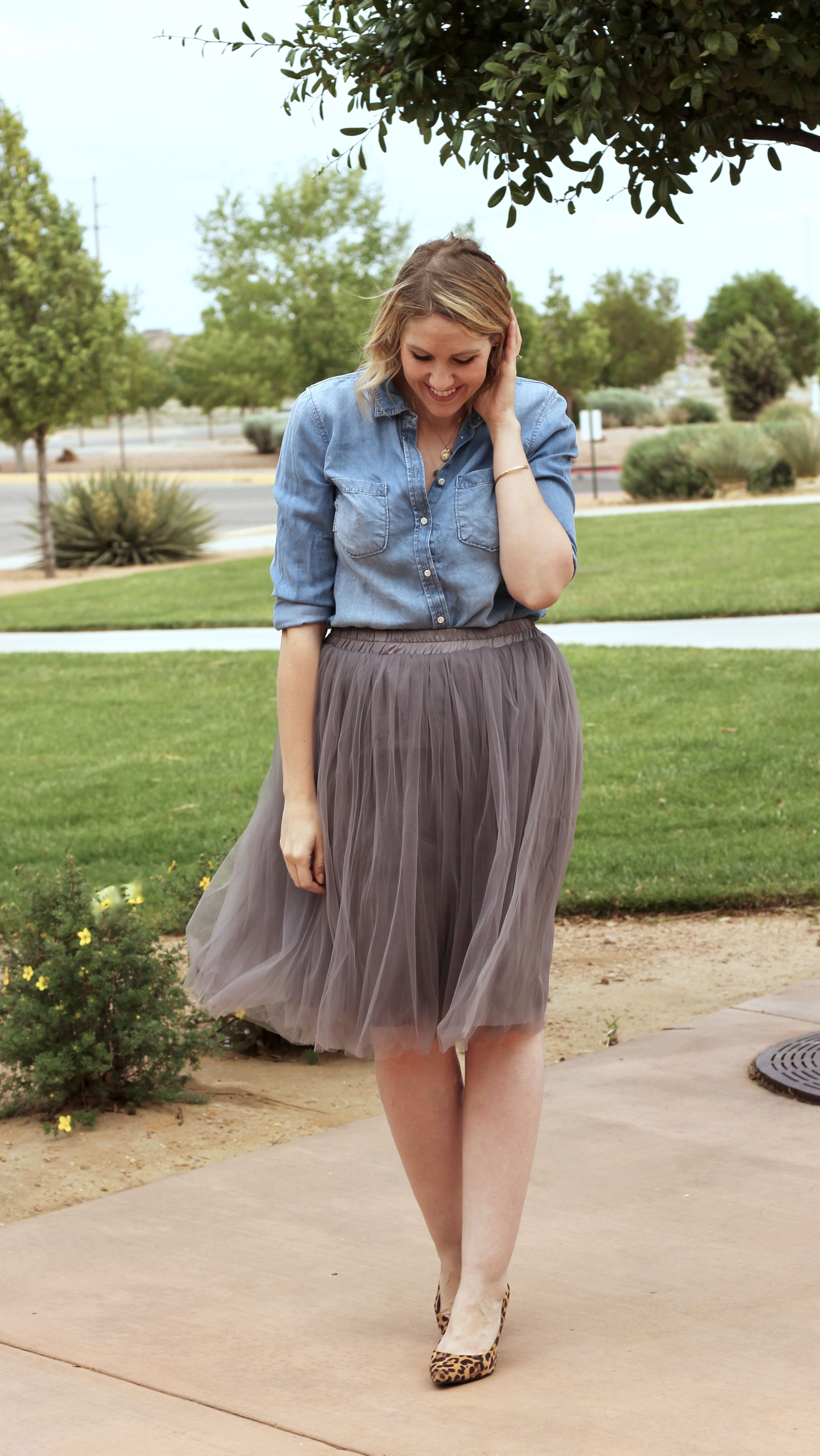 tulle skirt outfit with a chambray shirt