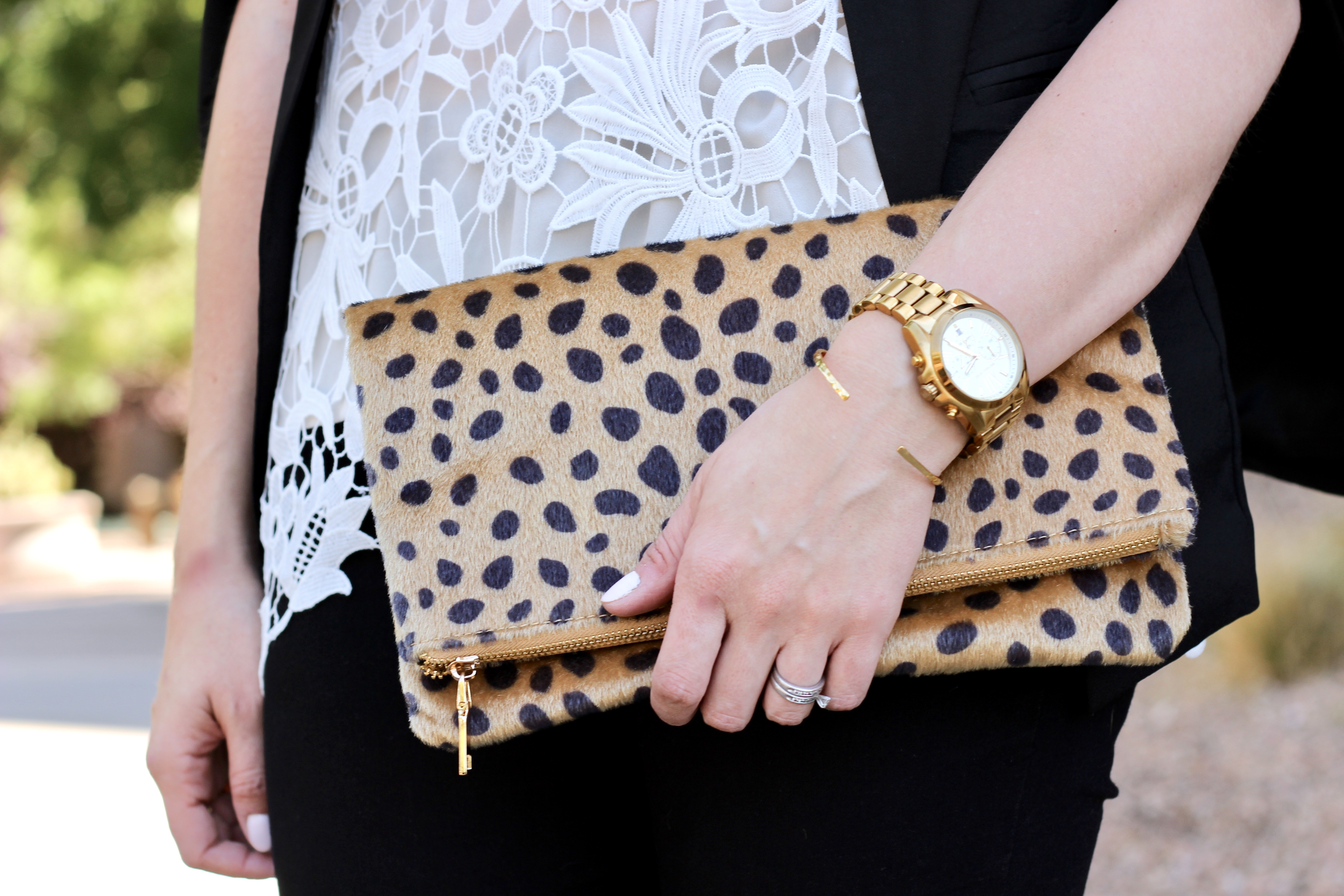 leopard foldover clutch for $40