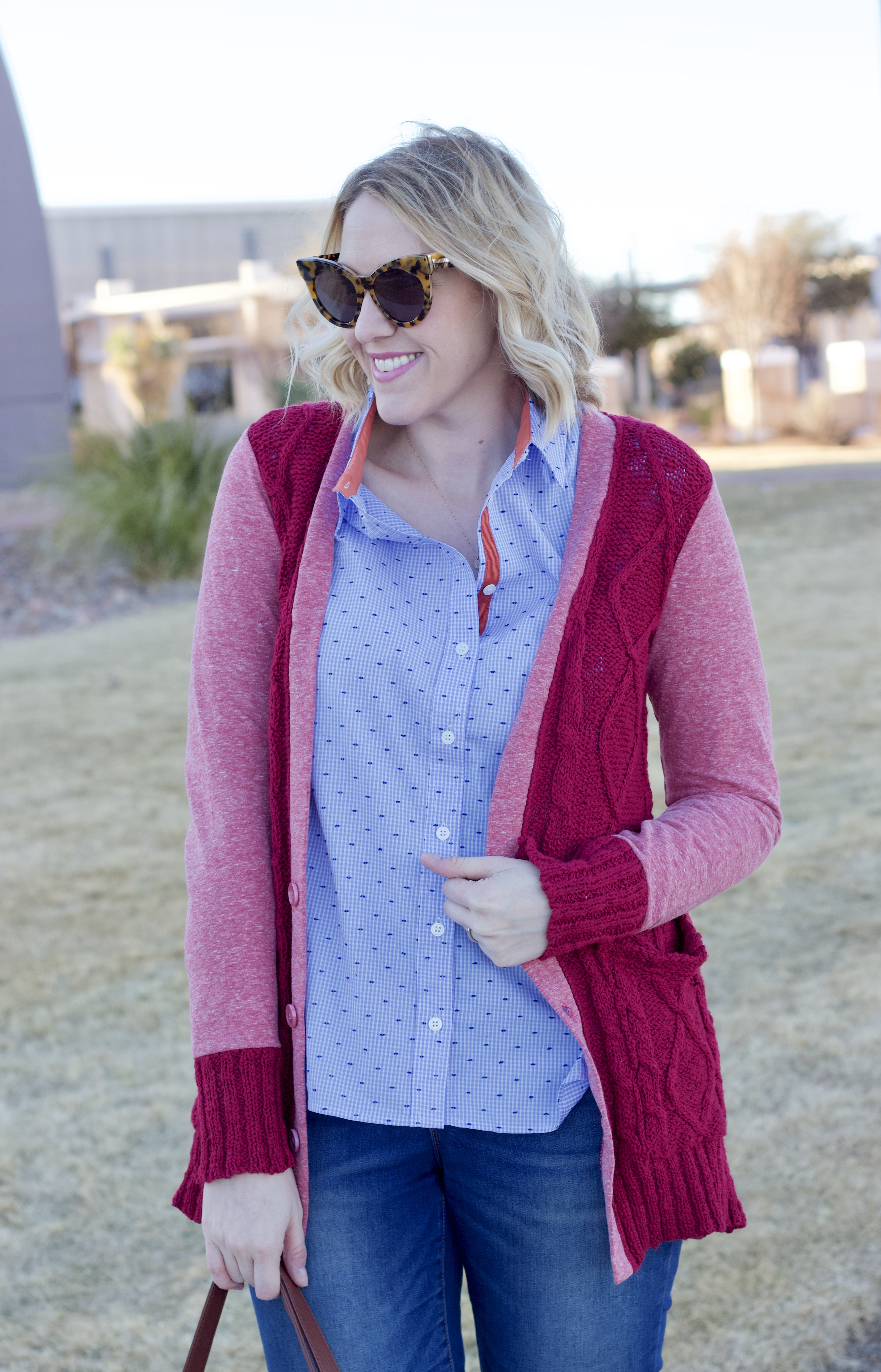 Evy's Tree Chloe cardigan and Amy shirt #evystree #momstyle #valentinesday