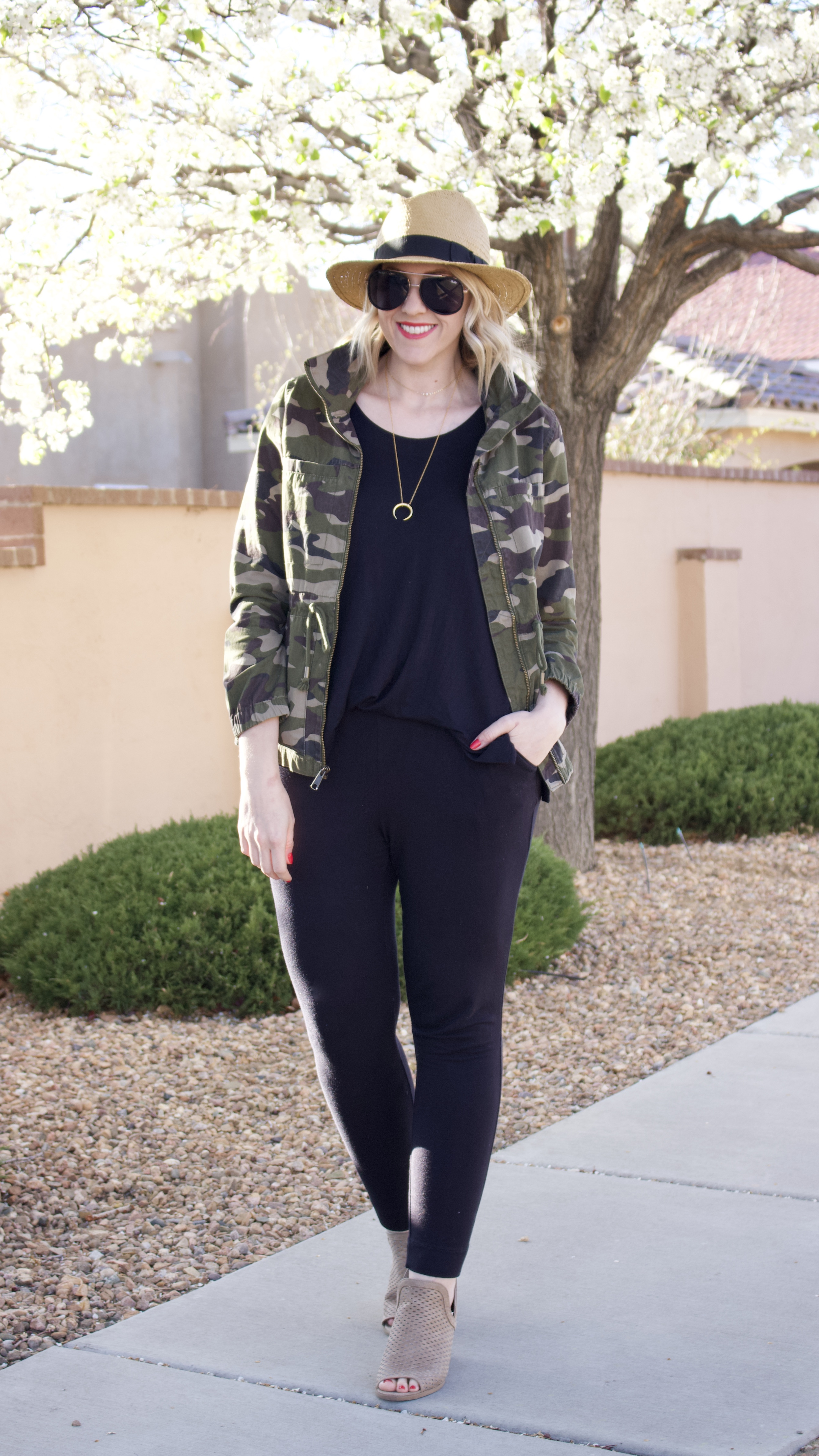 cute spring outfit camo jacket jumpsuit #jumpsuit #camo #momstyle