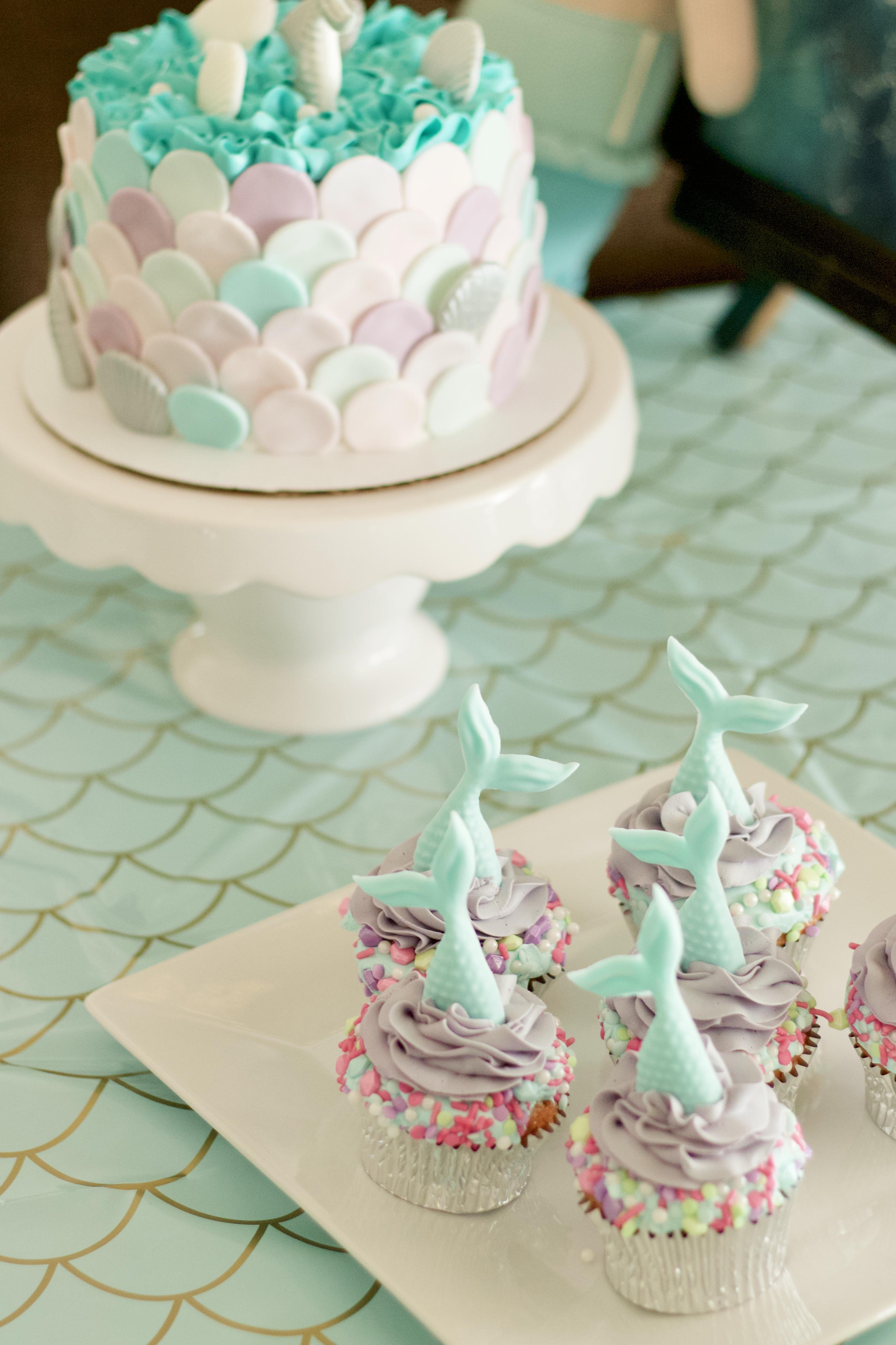 mermaid birthday cake and cupcakes #birthdaycake #mermaidcake #mermaidparty #cake