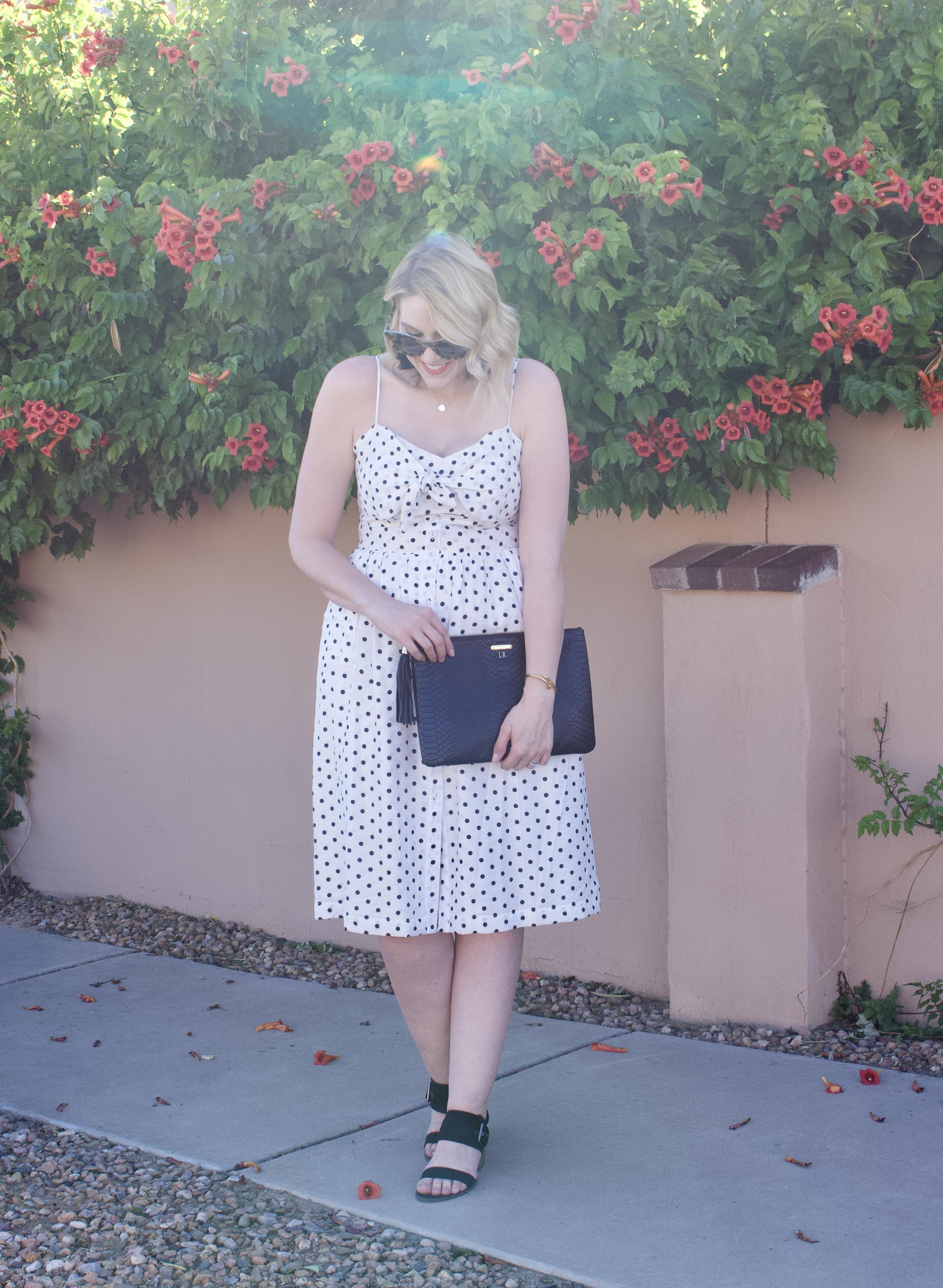 polka dot midi dress date night style #datenight #mididress #fashionlinkup #fashionblogger