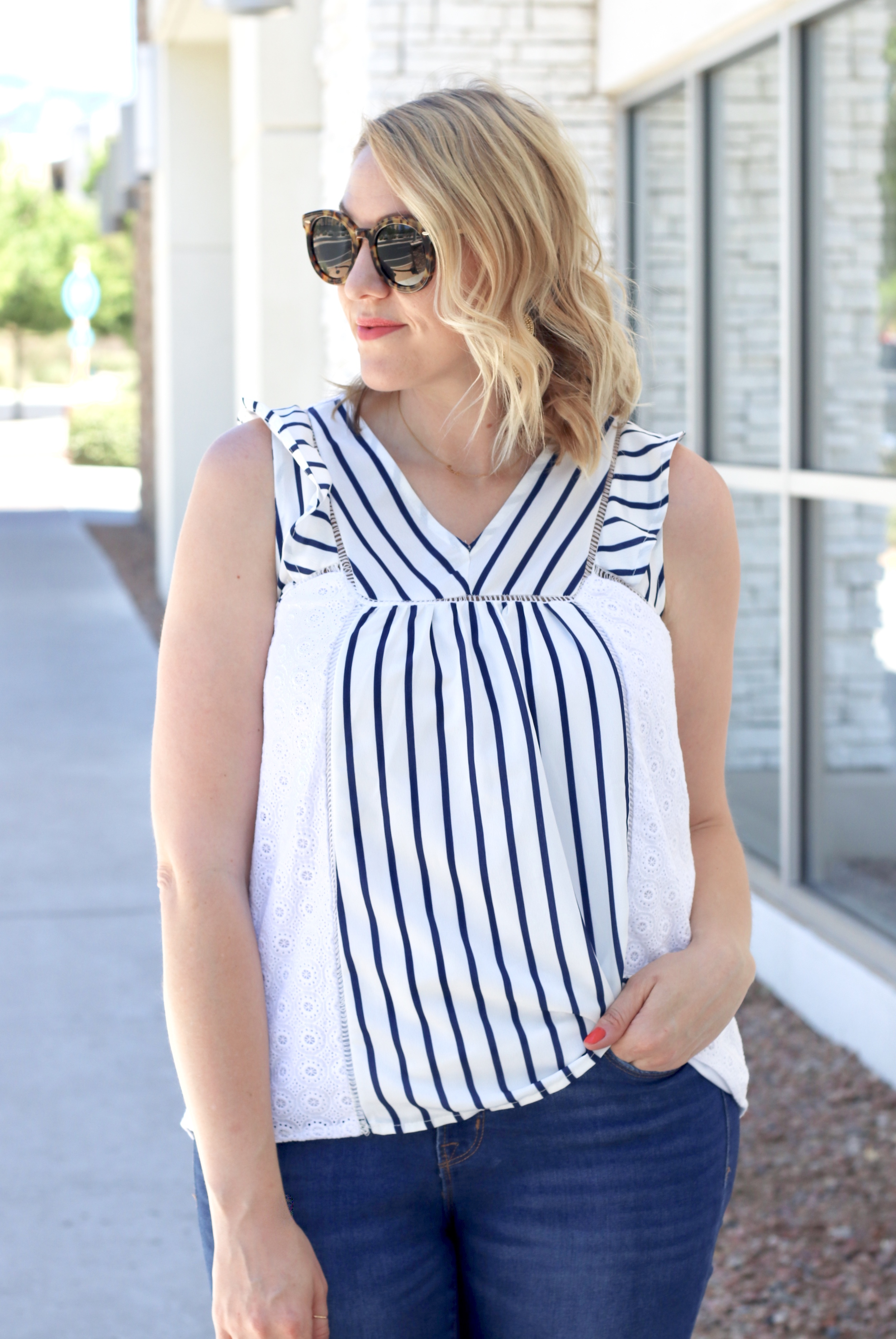 eyelet blouse with striped miss match san diego #missmatchsd #eyeletblouse #eyelet #stripedtop