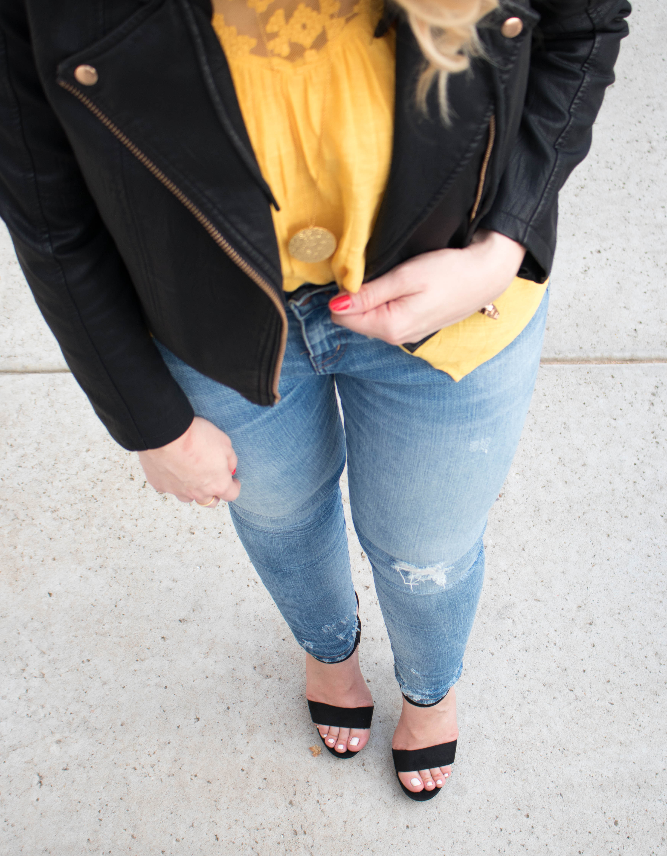 distressed denim and black heels #datenight #denim #leatherjacket