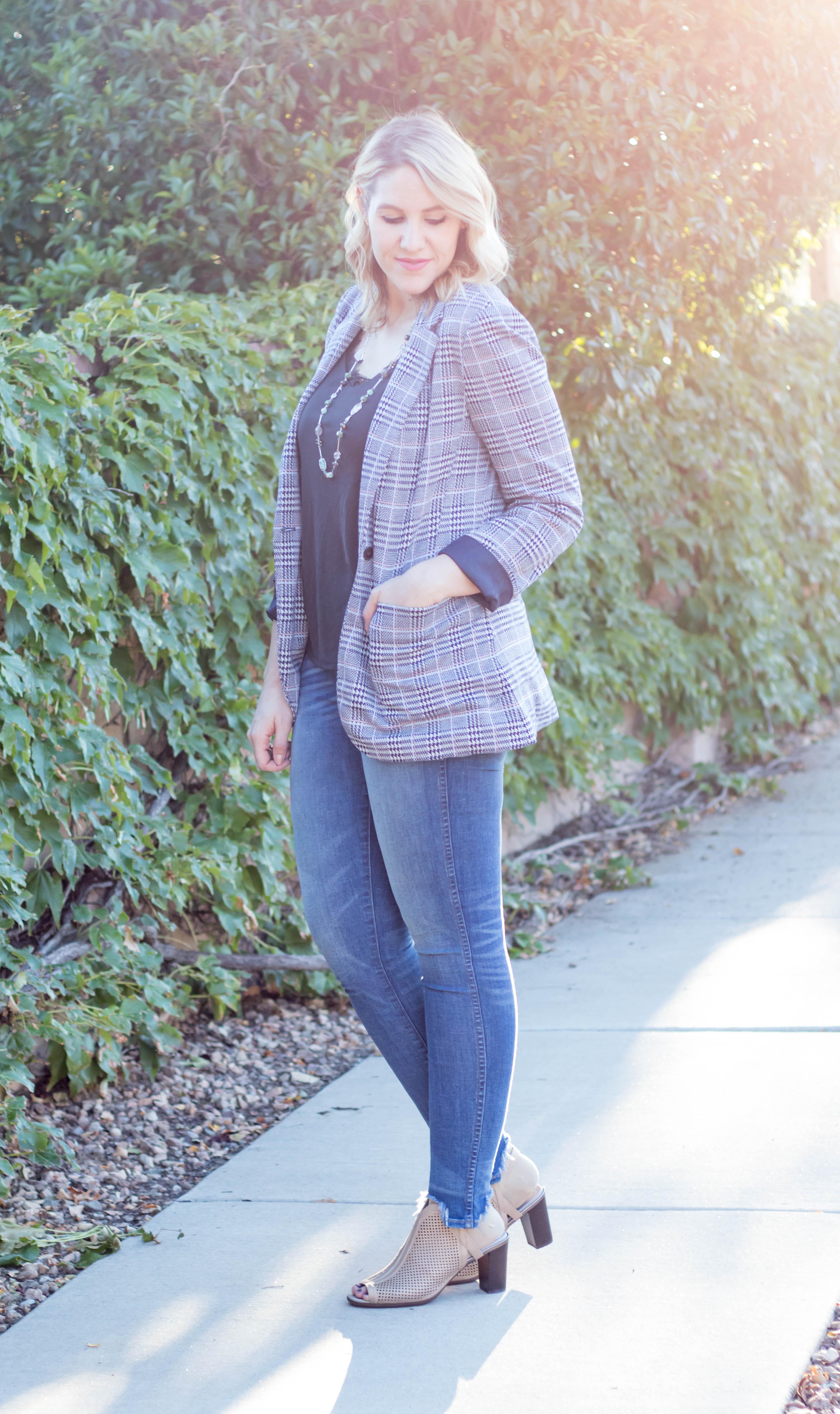 fall outfit with plaid blazer #theweeklystyleedit #fashionblogger #fallfashion #falloutfit