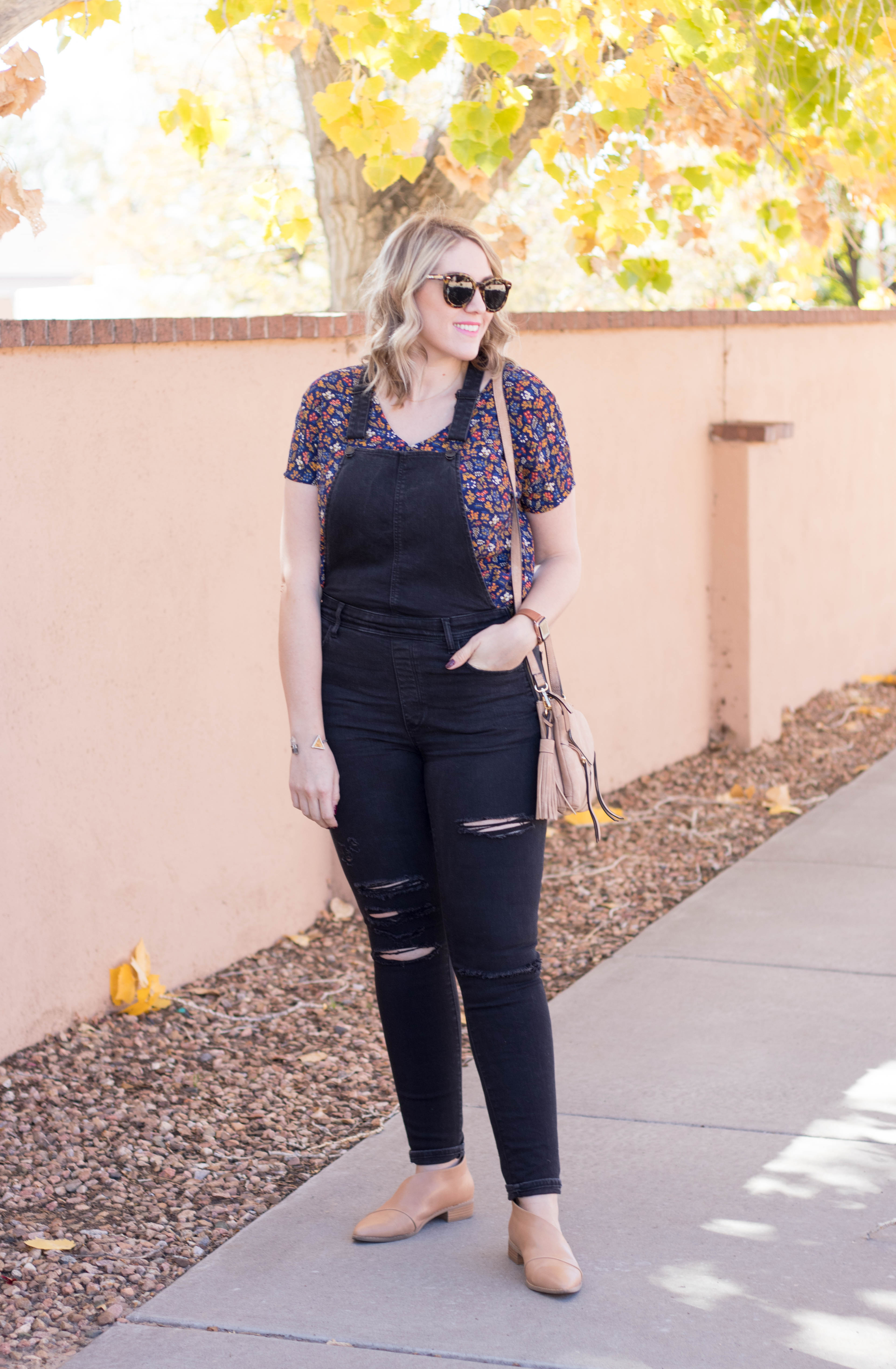cute overalls outfit for fall #tallfashion #falloutfit #madewelloutfit
