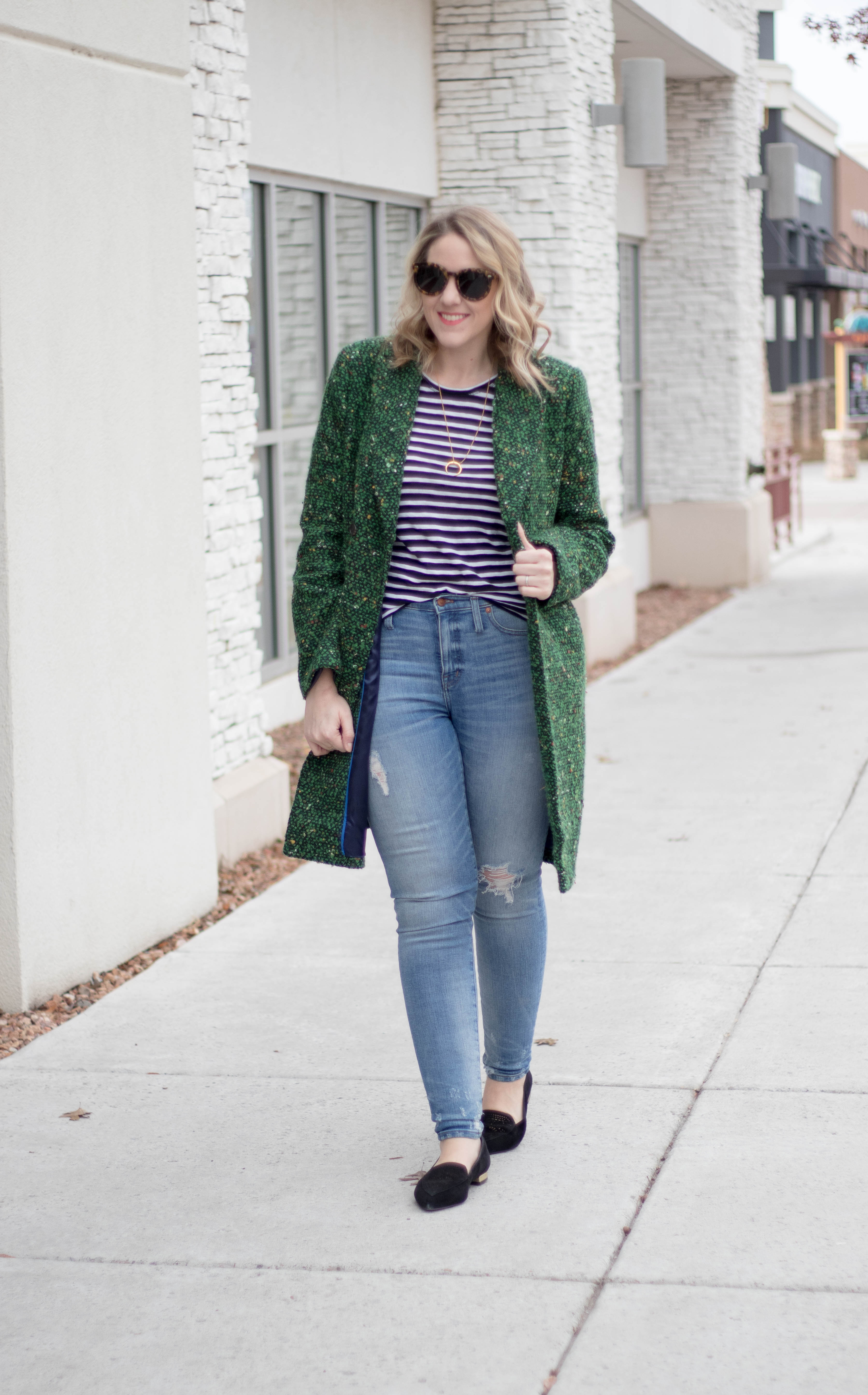casual winter outfit with tweed coat #winterstyle #momstyle #jcrewcoat