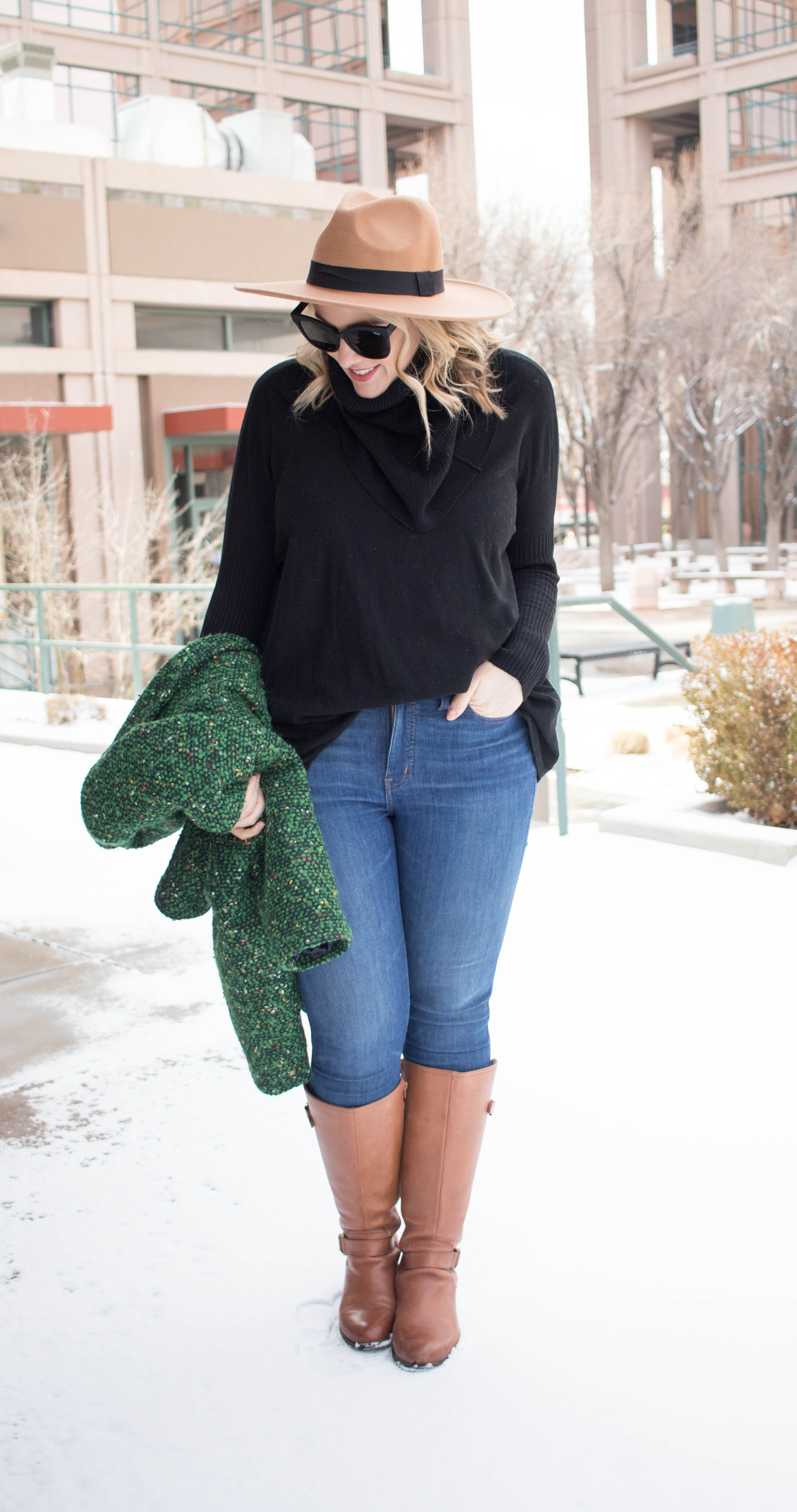winter layers cute winter style #winterlayers #neutraloutfit #widebrimhat