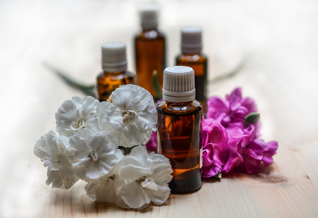 Essential Oils with Flowers