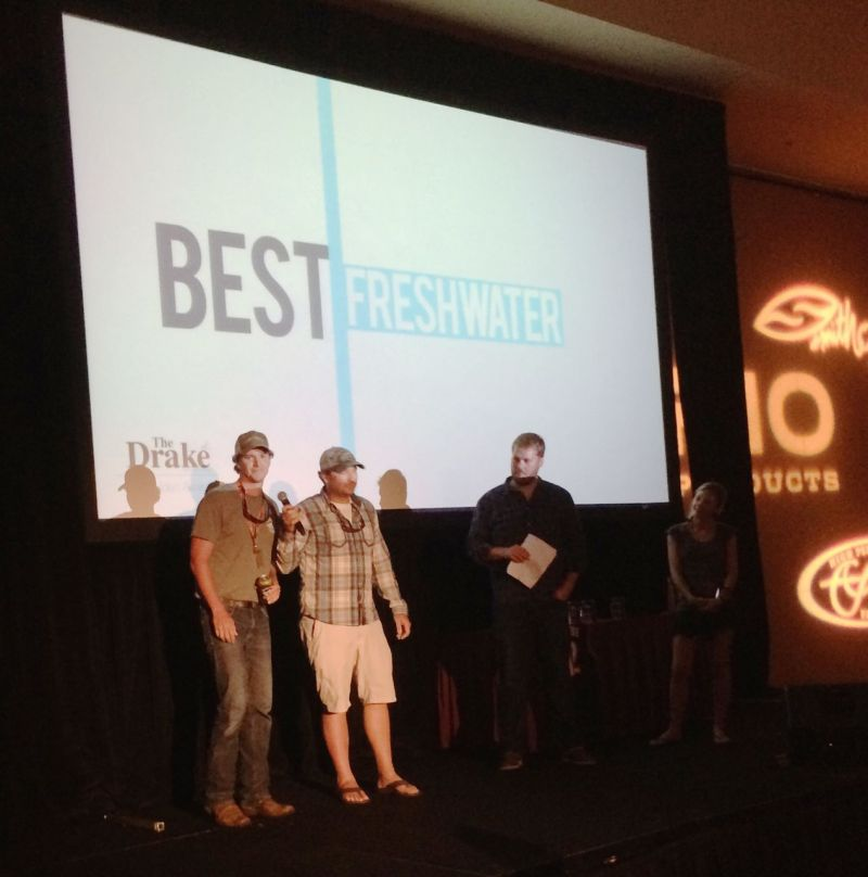 Brian and Colby Trow accept the award for Best Freshwater Movie at the 2014 Drake Film Awards
