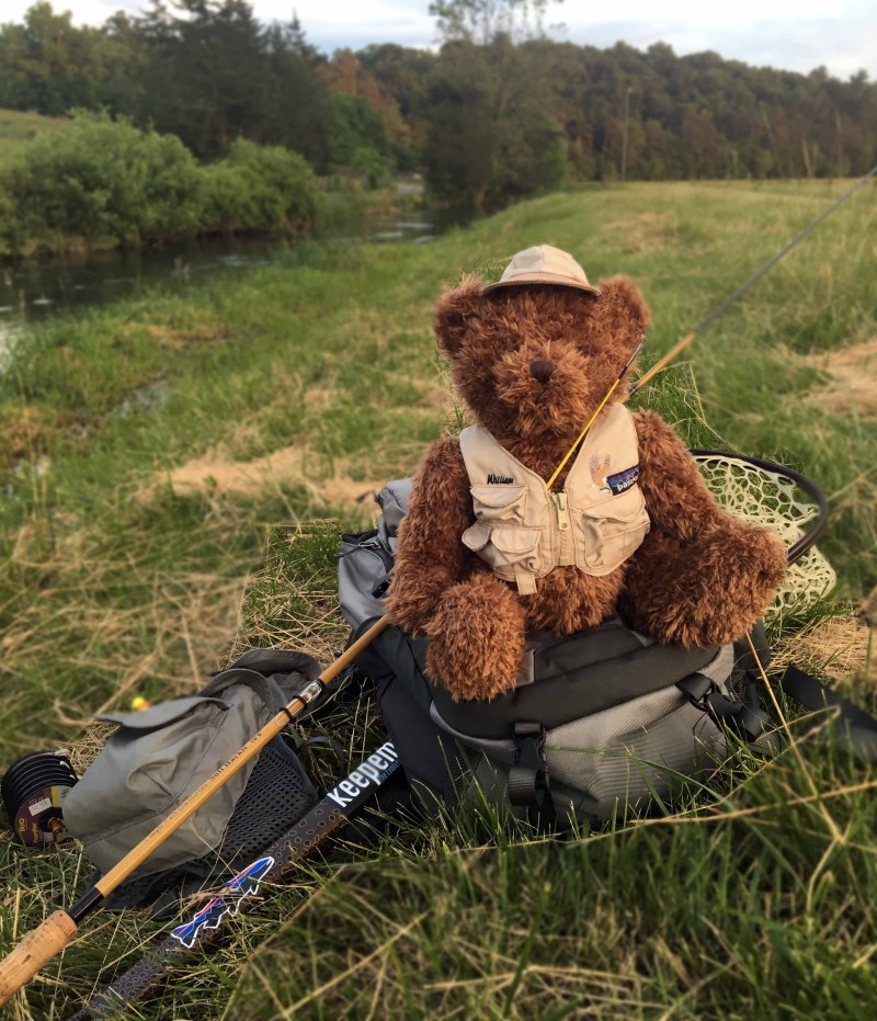 "Willi the tenkara bear on his first ""Fishing Friday."""