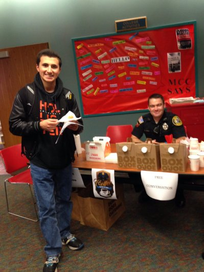 Officer Thomas Hickey had a steady stream of students stopping by to have a Coffee with a Cop on the Lowell campus.