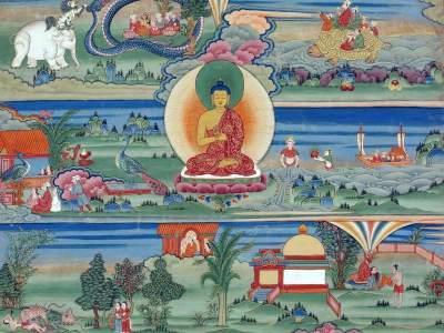 Bhutanese_painted_thanka_of_the_Jataka_Tales,_18th-19th_Century,_Phajoding_Gonpa,_Thimphu,_Bhutan(1)