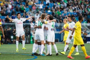Cosmos celebrate a goal versus Tampa Bay
