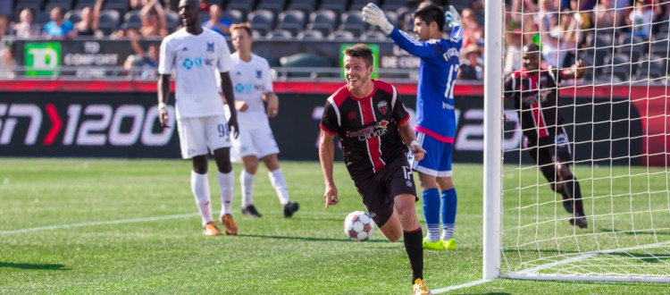 Carl Haworth celebrates after scoring. (Photo: Richard A. Whittaker/Indy Eleven)