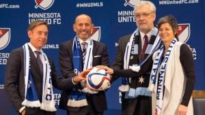 MLS Commissioner Don Garber with Mnnesota United's MLS Ownership (courtesy mlssoccer.com)