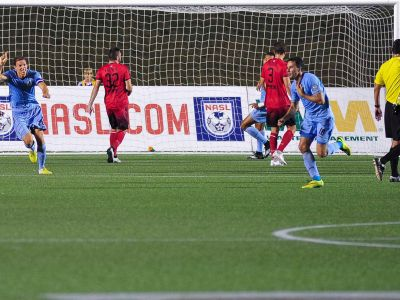 Daniel Mendes celebrates his game winning free kick. (Photo: Ottawa Fury FC)