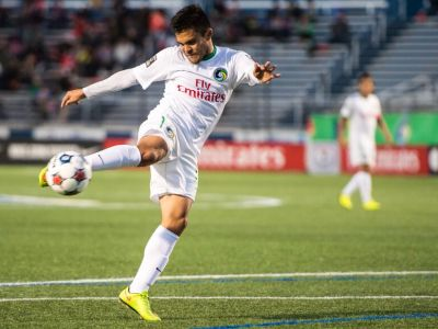 Andres Flores connects on a shot (Photo Credit: NY Cosmos)