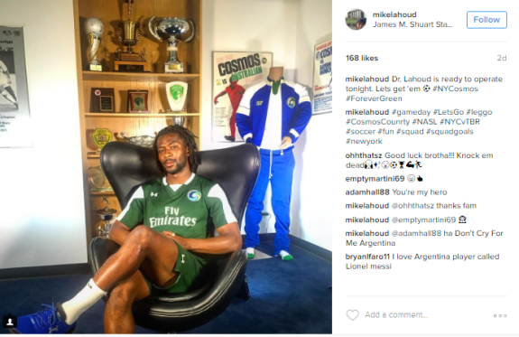 """Lahoud sits in Cosmos heaven just three days ago, """"#ForeverGreen"""" didnt last that long"""