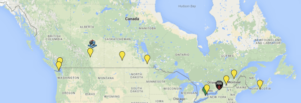 Possible locations of CPL teams. Only Hamilton is confirmed.