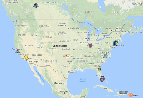 Potential 2017 NASL footprint based on current rumors