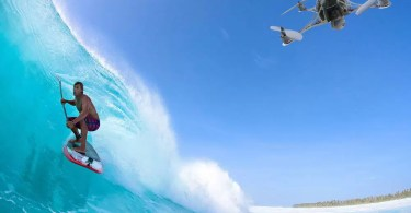 drone filming surf