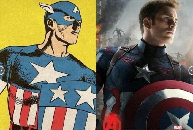 Avengers originales comparados con los poster de la película 3 730x493 650x439 - Fotos dos super-heróis da Marvel que foram copiadas dos quadrinhos
