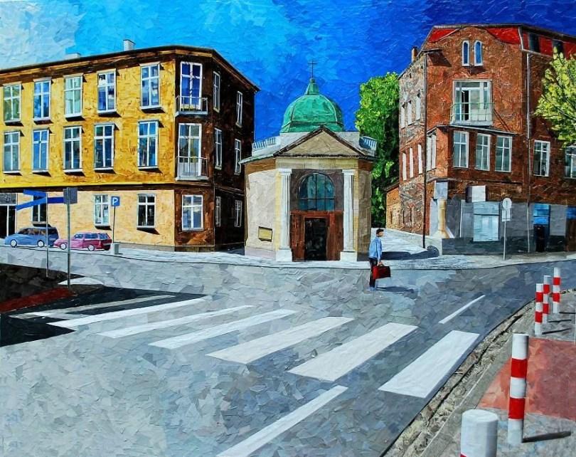 Paisagens urbanas que parecem pinturas a óleo que eu crio usando apenas papel e cola18 - Artista polonês usa papel e cola em quadros que parecem a tinta a óleo