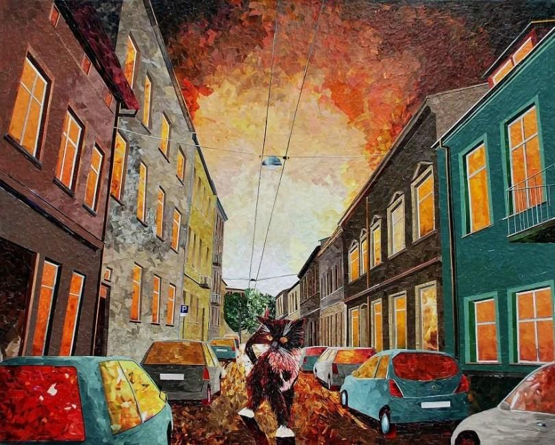 Paisagens urbanas que parecem pinturas a óleo que eu crio usando apenas papel e cola2 - Artista polonês usa papel e cola em quadros que parecem a tinta a óleo