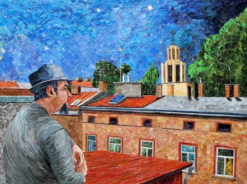 Paisagens urbanas que parecem pinturas a óleo que eu crio usando apenas papel e cola3 - Artista polonês usa papel e cola em quadros que parecem a tinta a óleo
