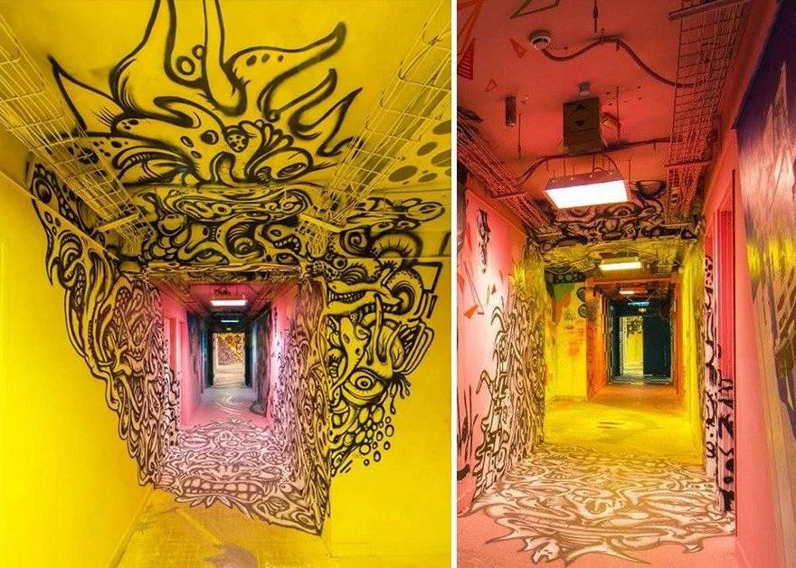 grafite pinturas artistas 2 - Grafiteiros pintam uma residência estudantil e o resultado chama atenção