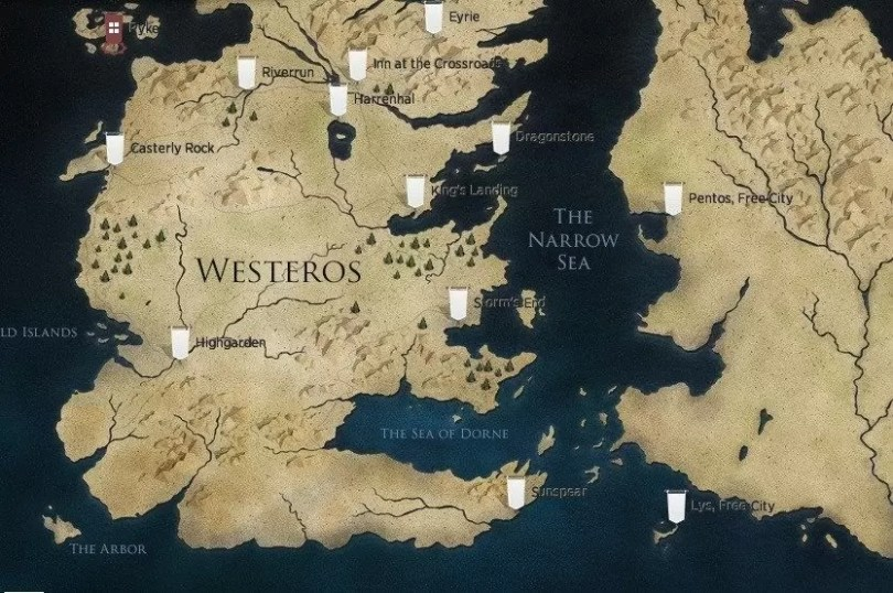 """locais game of thrones map of westerosgame of thrones interactive map of westeros fansided sports kk1f3tai - Google Maps disponibiliza lugares onde foram gravados """"Game of Thrones"""""""