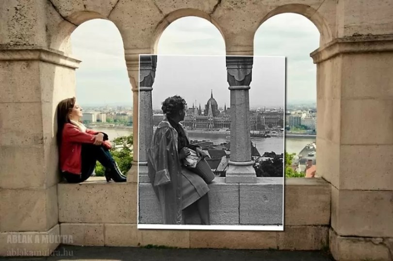 Photographer joins the present and the past in an image and the result is incredible 5b4679189acb6  880 - Fotografias mostram o mesmo lugar anos atrás