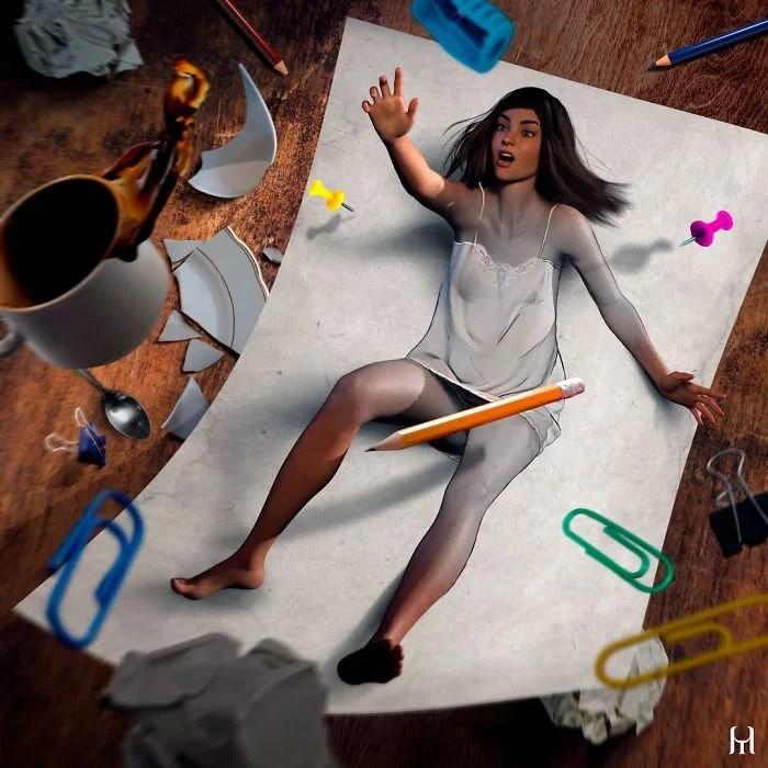 """Artista brasileiro Tullius Heuer cria pinturas digitais que saltam da página12 - Artista brasileiro cria """"pinturas digitais"""" que saltam da página"""