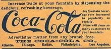 Anúncio do Jornal American Druggist em 1900, a Coca-Cola já estava sendo comercializada em cinco estados norte-americanos