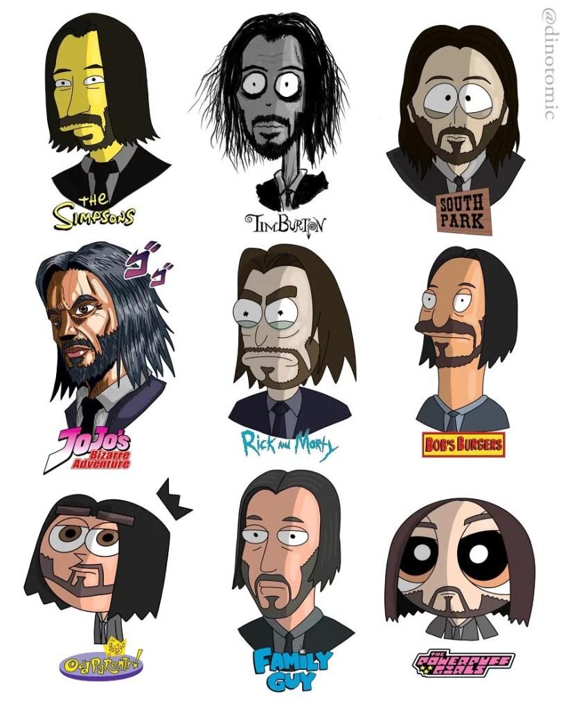 artista desenhou celebridades como personagens de desenhos animados diferentes - Artista desenhou celebridades como desenhos e o resultado é incrível