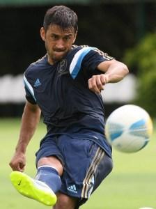 Robinho voltou a treinar junto com o elenco na quinta-feira. (Cesar Greco/Ag. Palmeiras/Divulgação)