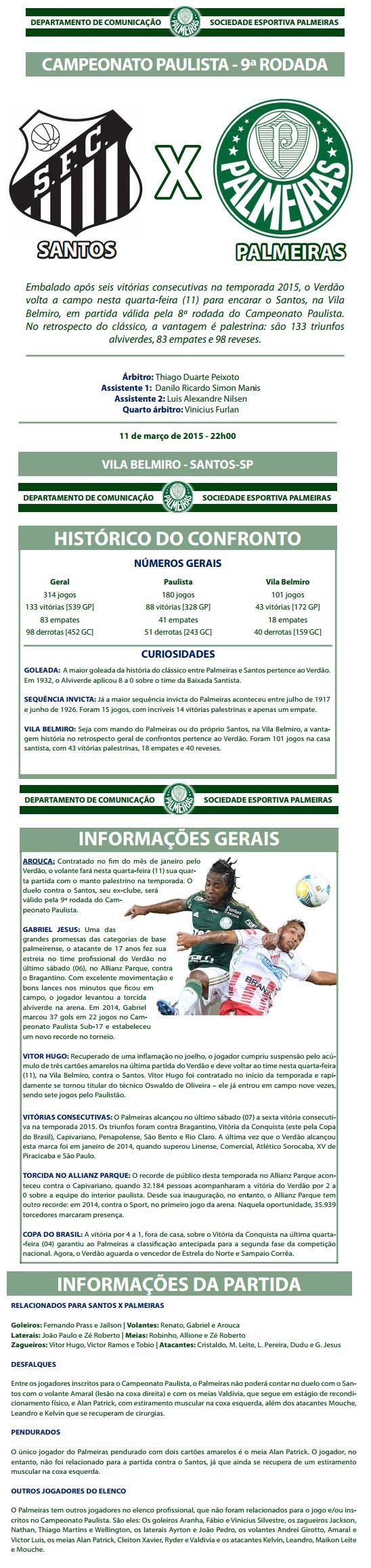 Palmeiras Santos paulista 2015