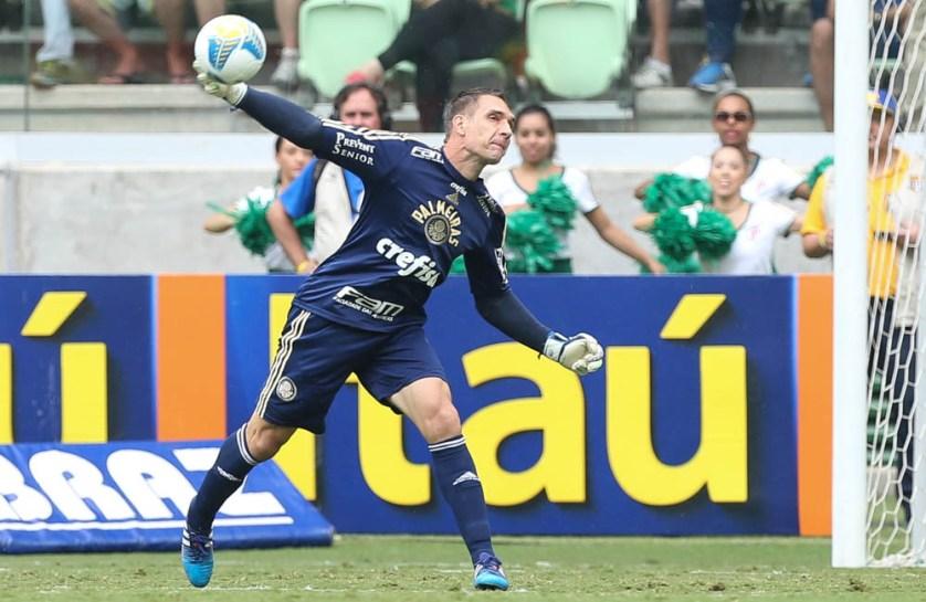 Prass, chegou à marca de 100 jogos com a camisa alviverde e foi muito bem nas poucas vezes que foi exigido (Cesar Greco/Ag. Palmeiras/Divulgação)
