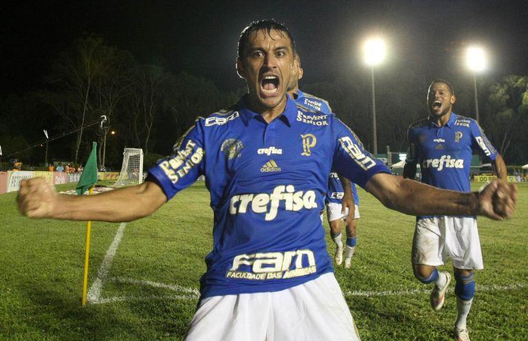 Robinho comemora mais belo gol com a camisa do Palmeiras. (Cesar Greco/Ag.Palmeiras/Divulgação)